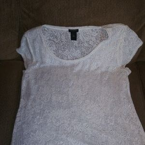 Ann Taylor extra large white lace polyester t-shir